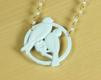 Love Bird Necklace in Pastel Blue