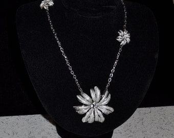 Silver Flora Recreated  Necklace