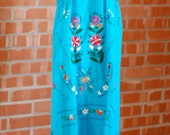 70s Vintage Teal Blue MEXICAN Embroidered Peasant Dress