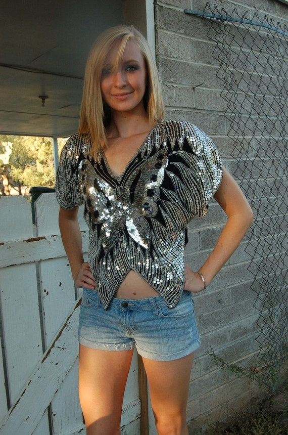80s VTG Silver SILK Sequined BUTTERFLY Top SEXY GLAM S