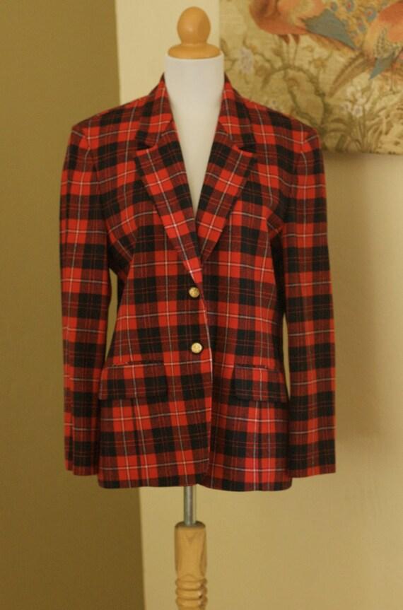 60s VTG Red Plaid PENDLETON Wool Blazer Jacket