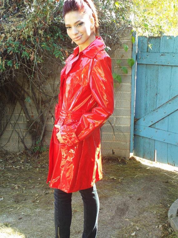 Vintage Killer Red Vinyl Raincoat Spy Jacket Super Sexy Coat