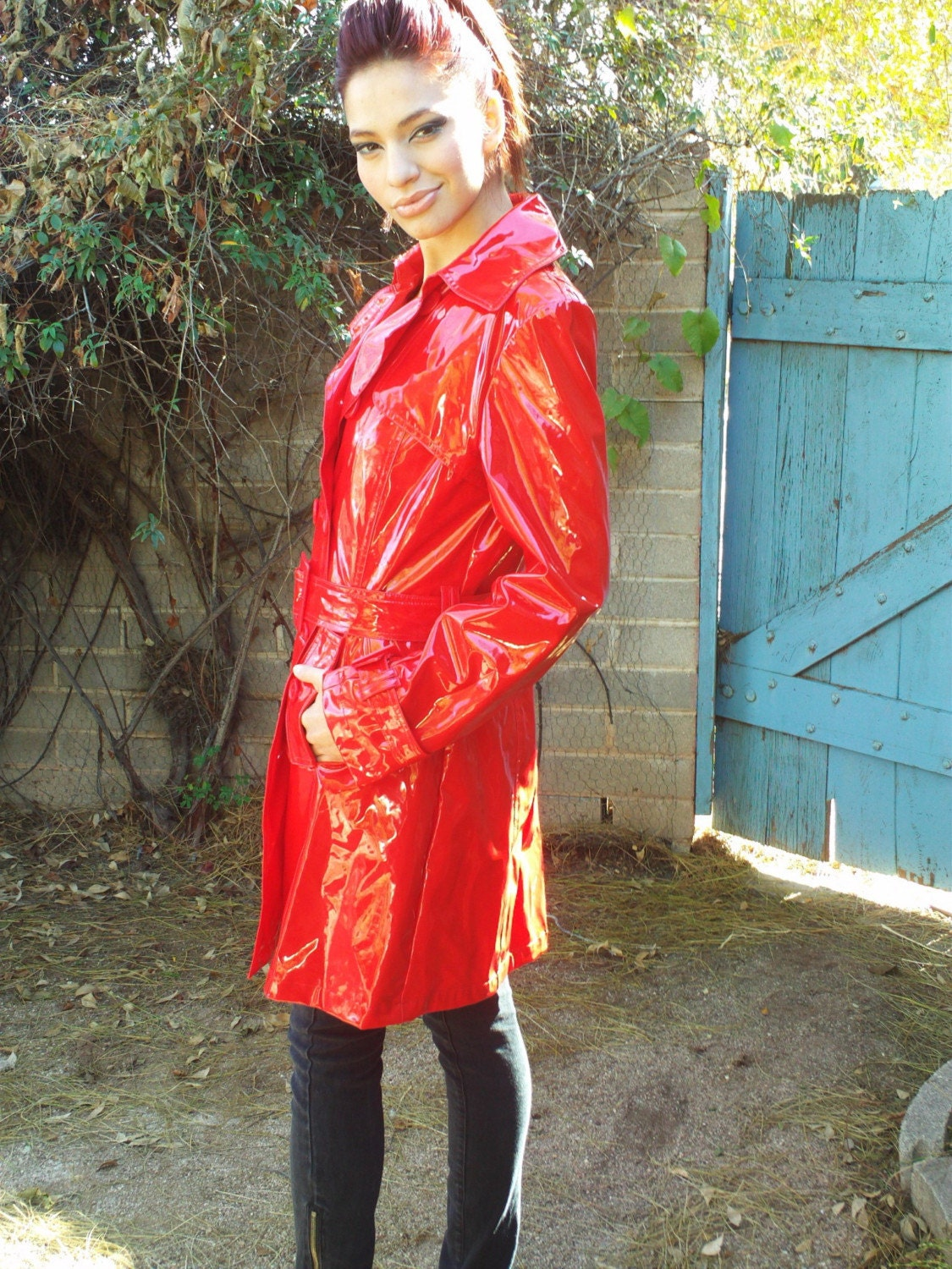 Vintage Killer Red Vinyl Raincoat Spy Jacket Super Sexy Coat