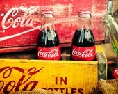 Coca-Cola bottles in old soda crates, red and yellow with glass bottles, home decor or kitchen art - 8x12