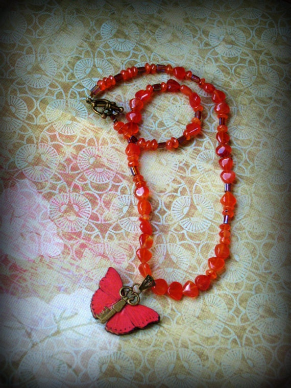 Red Butterfly Flying Key Necklace with Carnelian
