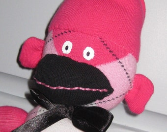 Pink Argyle Sock Monkey