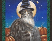 Merlin - 8 x 10 Print of Original Acrylic Cat Painting by Carolee Clark