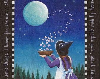 Spellcasting - 8 x 10 Print of Original Acrylic Witch Painting by Carolee Clark