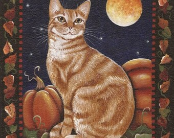 Hubba's Halloween - 8 x 10 Print of Original Acrylic Cat Painting by Carolee Clark