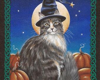 Merlin - 8 x 10 Print of Original Acrylic Cat Painting by Carolee Clark