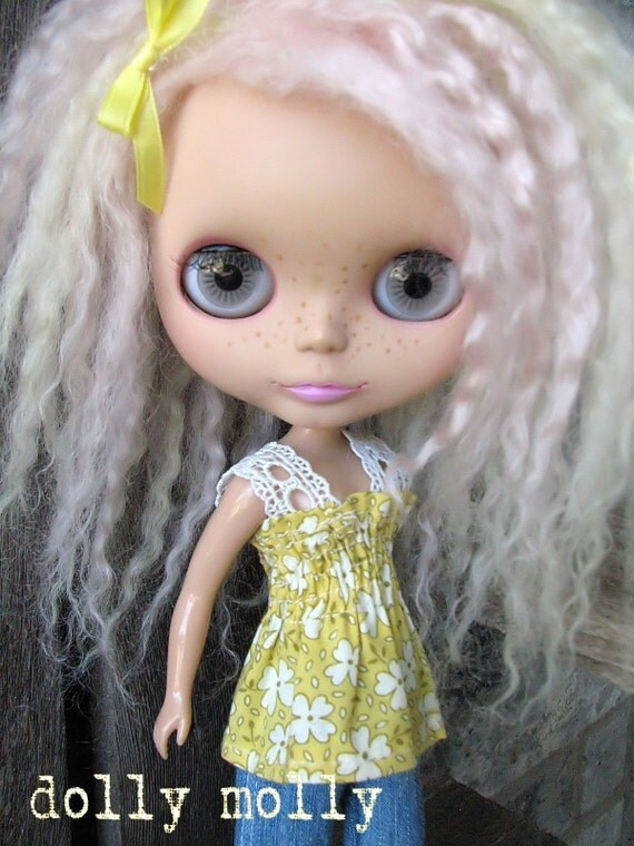 dolly molly SHIRRED yellow floral with lace halter top for BLYTHE doll