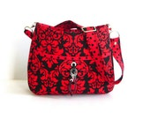 Purse Shoulderbag Crossbody Bag with adjustable Strap personalized with initial charm, Red, Black Noir Dandy Damask Lil Ms Sassy2
