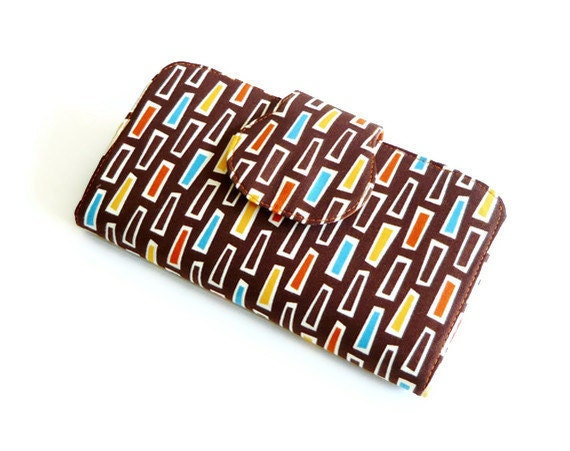 Fabric Wallet - Womens Wallet - Checkbook Cover - ID Window and Zippered Pocket - Spice Chocolate Brown Groove Theory