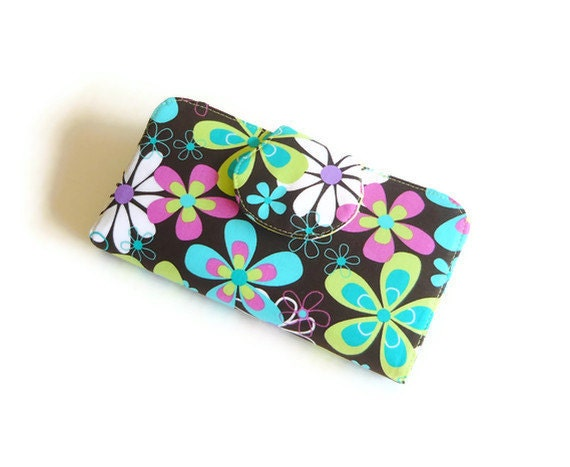 Fabric Wallet - Womens Wallet - Checkbook Cover - ID Window and Zippered Pocket - Far Out Floral Aqua Lime Purple