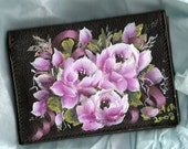 Hand Painted Pink Roses Leather Credit ID Card Holder