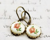 Cameo earrings vintage pink rose