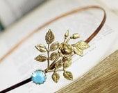 Turquoise headband rose brass turquoise jewel romantic shabby chic retro