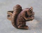 Squirrel ring antique brass retro woodland autumn