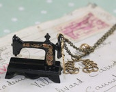 Sewing machine necklace antique style brass seamstress victorian vintage style scissors fashion design