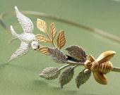 Bird and bee bridal headband leaves wedding head piece garden leaf hair accessory goddess nature silver brass