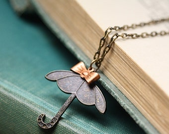 Umbrella necklace spring  brass copper bow vintage style retro spring rain whimsical