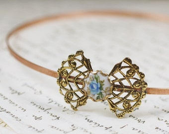 Cameo headband blue flower filigree vintage style copper gold