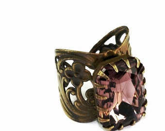 Amethyst purple jewel ring art nouveau brass vintage style
