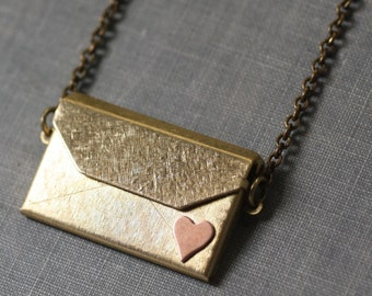 Envelope locket necklace I love you brass copper heart retro gift for her Valentines Day