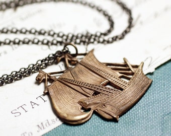 Pirate ship necklace vintage brass galleon sailboat tall ship
