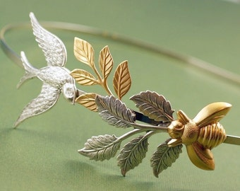 Bird and bee bridal headband leaves wedding head piece garden leaf hair accessory goddess nature silver brass