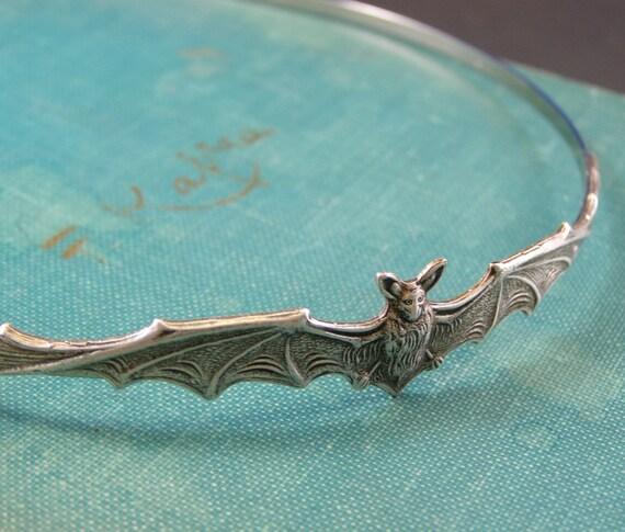 Bat headband vampire silver