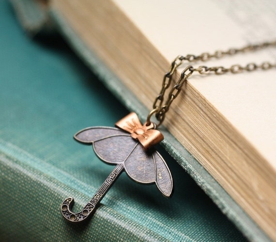 Umbrella necklace spring  brass copper bow vintage style retro spring rain whimsical