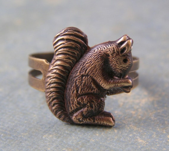 Squirrel ring antique brass retro woodland autumn