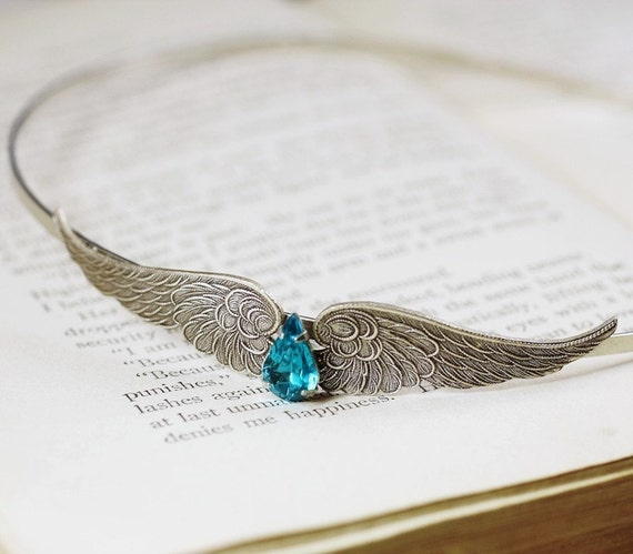 Wing headband teal jewel vintage style silver choose color