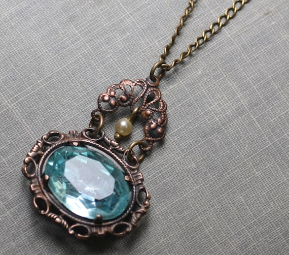 Aqua jewel necklace vintage style filigree brass blue pearl bridal victorian