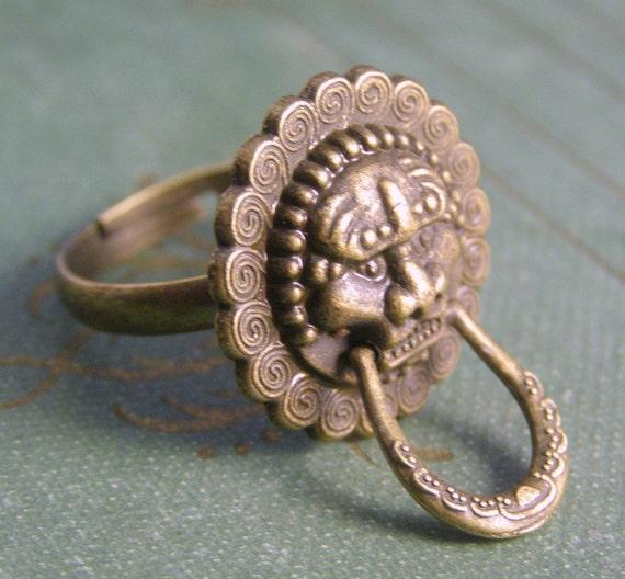 oriental lion door knocker ring