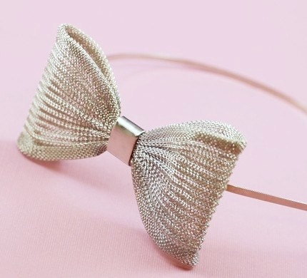 silver mesh bow alice hair band black models picture
