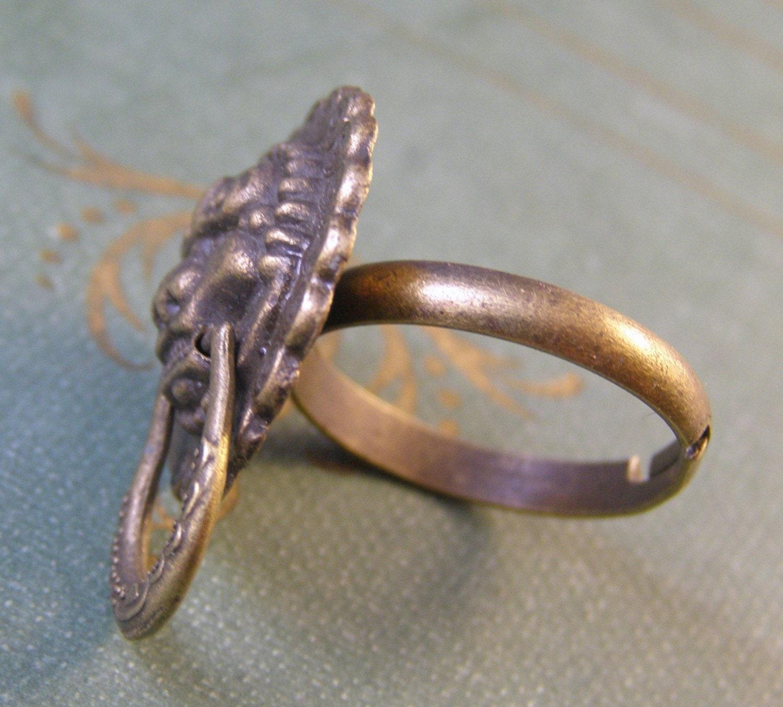 oriental lion door knocker ring by mylavaliere on etsy