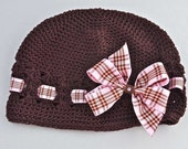 Perfectly Posh - Toddler/Girls Light Pink Tartan Striped Boutique Bow with Chocolate Brown Beanie