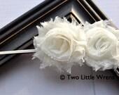 Zoe Flower Headband - Light Ivory Double Shabby Chic Flowers - Baby Headband to Adult Headband - SPRING SALE - See Shop