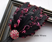 Eva Soft Feather Headband - Black and Hot Pink Feather Headband with Jeweled Accent - Baby Headband to Adult Headband