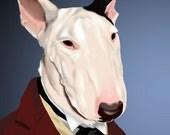 Dressed Bull Terrier dog art print