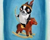 Boston terrier cowboys and indians print set
