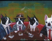 Three Boston Terriers and a Frenchie magnet