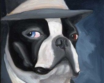 Old Blue Eye - Boston Terrier dog art print