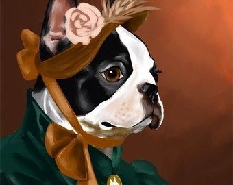 The American Lady - Boston Terrier Art Print by Brian Rubenacker