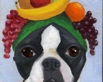 BOSTON TERRIER  dog art PRINT 101 bostons wearing hats 12