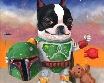 Boba Terrier - Boston Terrier dog art print