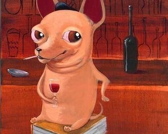 Chihuahua at the Bar print