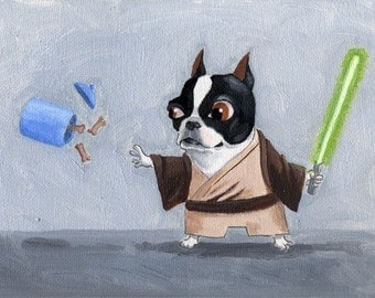 Jedi Terrier - Boston Terrier Dog Art Print